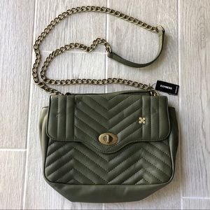 New Express army green quilted crossbody bag